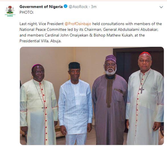Osinbajo meets Peace Committe