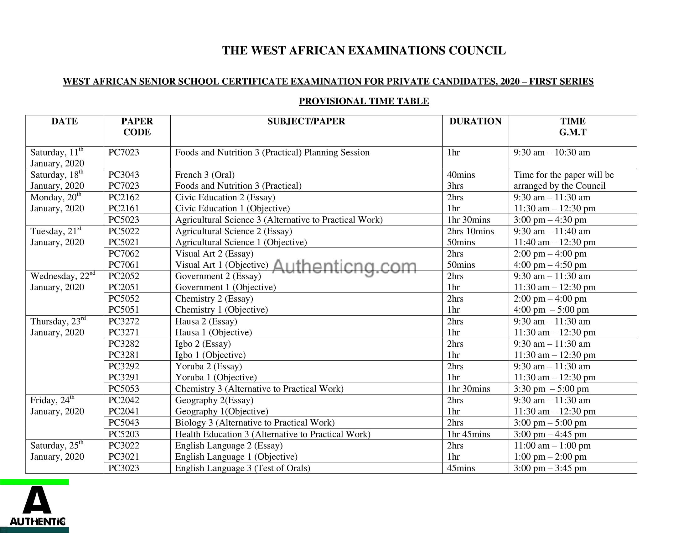 Waec gce 2020 Timetable