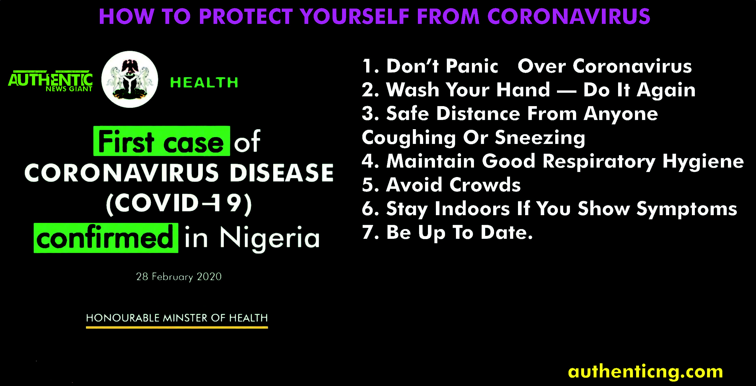 Coronavirus In Nigeria: How to Protect your self 1