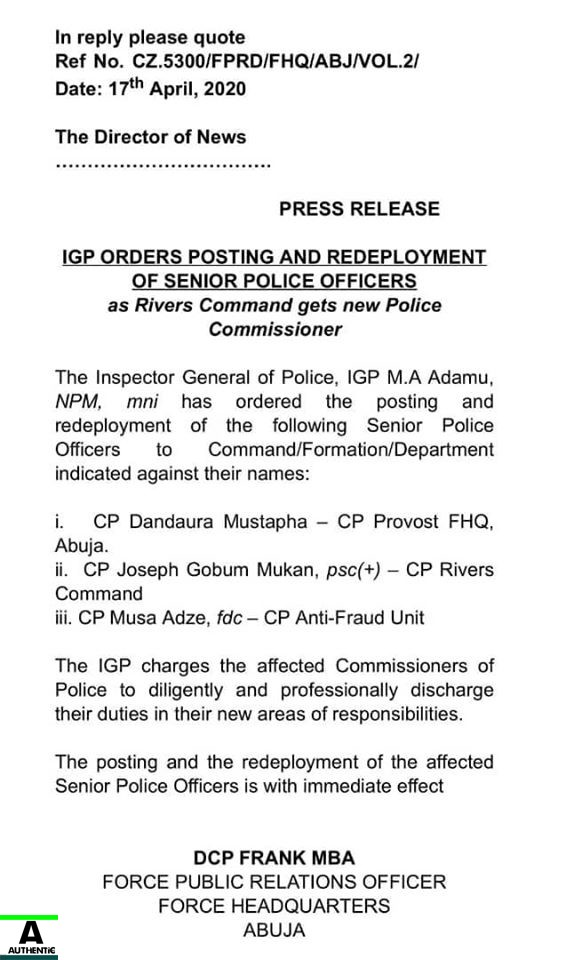 IGP orders Redeployment of CP of Rivers few hours after Wike's Press Briefing