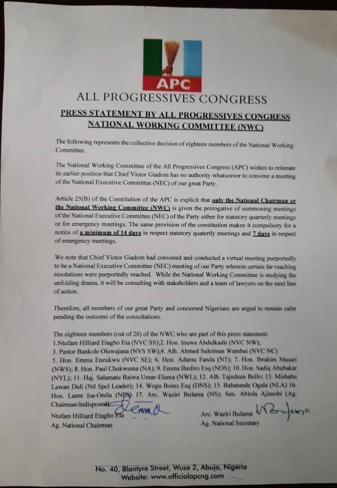 Oshiomhole APC NWC reject Buhari-Giadom NEC decision heads to Court