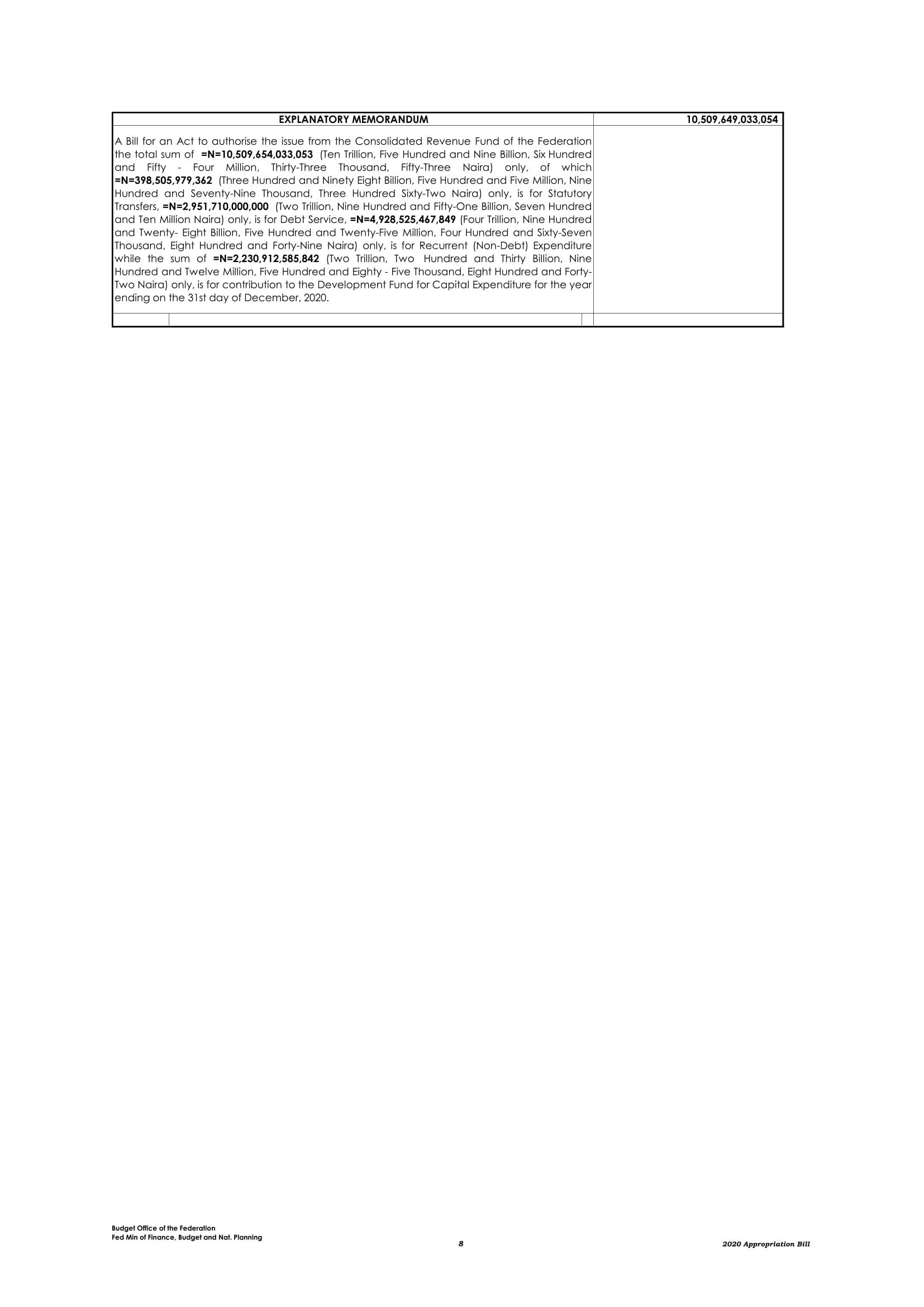 2020 Revised Appropriation Bill 8