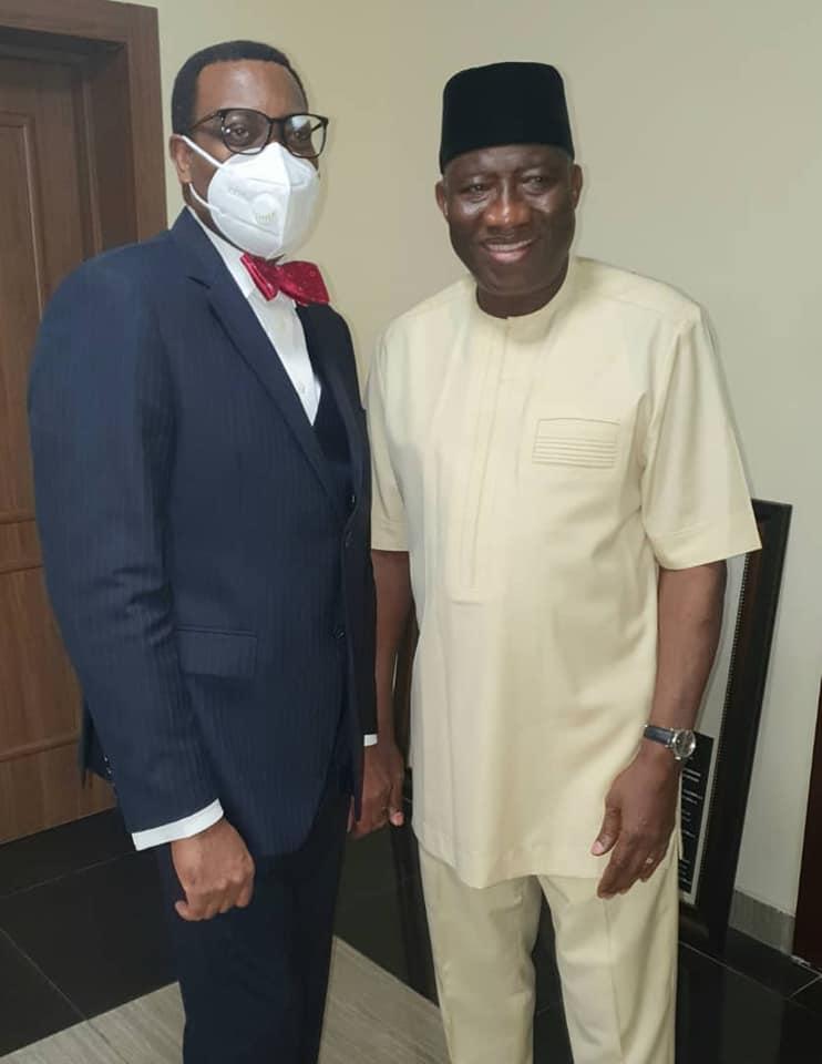 AfDB President Adesina visits Goodluck Jonathan
