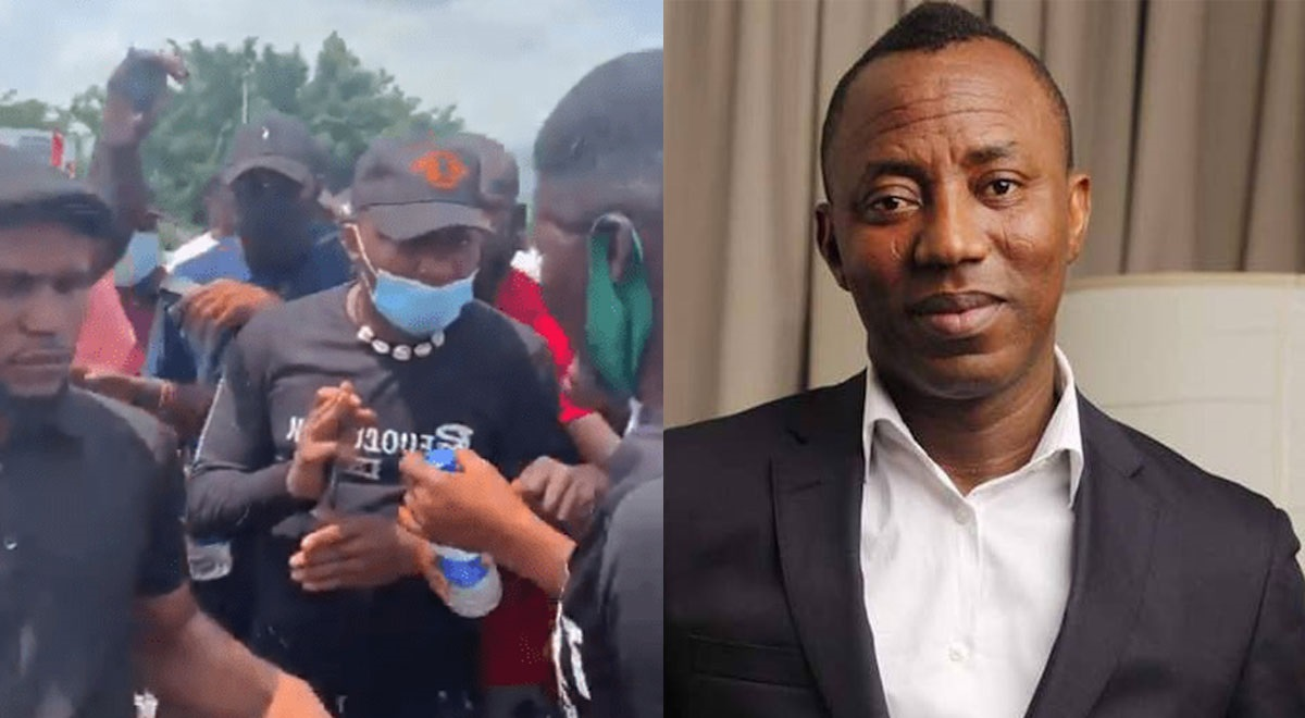 Angry Protesters Chase Omoyele Sowore out of protest ground