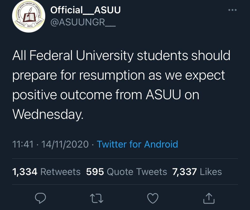 ASUU tells Nigerian students to Prepare for resumption