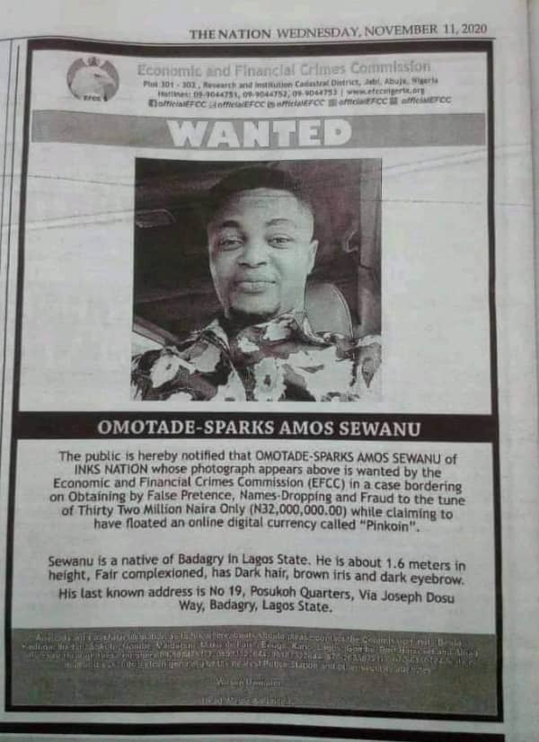 EFCC declares Inksnation Boss, Omotade-Sparks wanted
