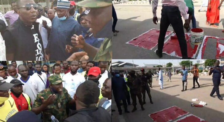VIDEO: Heavy Tension In Abuja as Sowore resumes ENDSARS Protest, Scribbles ENDSARS on Airport driveway