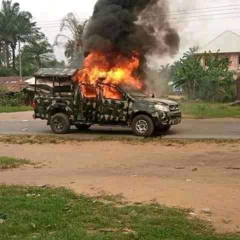 Unknown Gunmen Kill Nigerian Soldiers, Policemen, Burn Operational Vehicles In Akwa Ibom