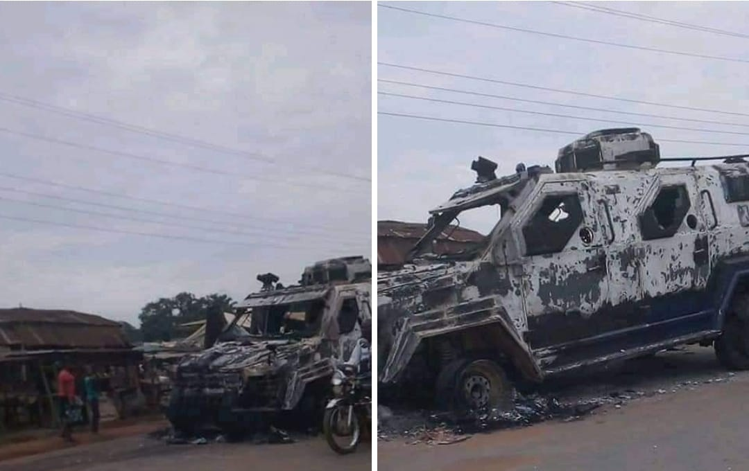 Nigeria Army Armored Personnel Carrier burnt as JTF Allegedly clash with Unknown Gunmen